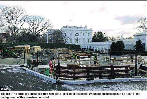 白宫西翼大楼前开始施工 疑似末日地堡